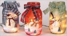 DIY Snowman Painted Jars (decoupage Christmas napkins on jars) Mason Jar Christmas Crafts, Noel Christmas, Mason Jar Crafts, Christmas Projects, Holiday Crafts, Christmas Decorations, Christmas Ornaments, Primitive Christmas, Christmas Ideas