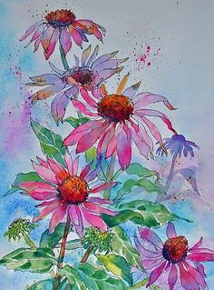 Here I like the technique of the way she has flattered a little color with the flowers using a shadow of a different color.. Art of Ann Mortimer