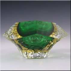 Mandruzzato Murano/Sommerso Textured Green Glass Bowl - £119.99