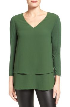 MICHAEL Michael Kors Mixed Media Layer Front Top available at #Nordstrom