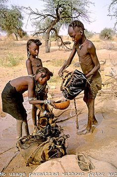 Niger. Sahel. Wodaabe nomad girls and boy filling  goat skin bags with water for the family to drink. Boy is using a leather bucket to pull water from a water hole..