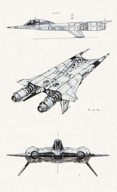 "thevaultofretroscifi: ""Early Battlestar Galactica designs by Ralph McQuarrie "" Spaceship Art, Spaceship Design, Concept Ships, Concept Art, Stargate, Arte Sci Fi, Alien Ship, Space Fighter, Star Wars Spaceships"