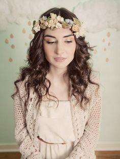 A beautiful Floral Crown Mignonne-Handmade-Romantic-Flower-Crown. Flower Headpiece Wedding, Flower Headdress, Flower Crown Wedding, Bridal Crown, Bridal Hair, Flower Crowns, Flower Tiara, Flower Band, Diy Flower