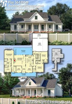 Lovely Farmhouse Plan with Vaulted Living Room Architectural Designs Home Plan gives you bedrooms, baths and sq. Where do YOU want to build?Architectural Designs Home Plan gives you bedrooms, baths and sq. New House Plans, Dream House Plans, My Dream Home, Dream Houses, Family Home Plans, Four Bedroom House Plans, House Plans One Story, Ranch House Plans, Country House Plans