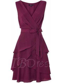 Tbdress.com offers high quality A-Line Belt V-Neck Plain Women s Day Dress  Day Dresses unit price of   24.99. 0a622119f08e