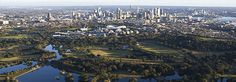 Centennial Park, Sydney, is a large public urban park that occupies 220 hectares, located 4 kilometres south-east of Sydney's CBD, in  Randwick. / The Park forms part of the larger Centennial Parklands.