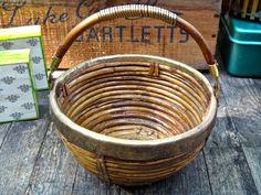 Basket, Brass Rattan Basket, Glibal Decor, Word Decor, Organizer, Catchall Storage, Brass Bamboo, Masculine Man Cave, MaxsUniquities by MaxsUniquities on Etsy