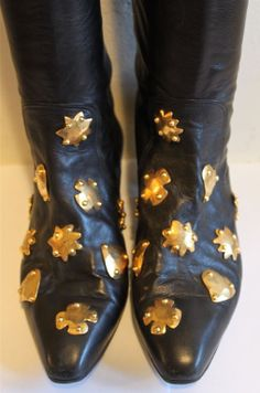 CHRISTIAN LACROIX black over the knee boots with gilt studs