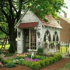 This beautiful garden shed from Better Homes and Gardens owes its character and charm to the use of reclaimed materials. Description from m.lampsplus.com. I searched for this on bing.com/images