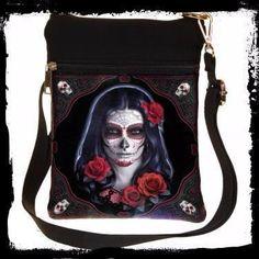 Day of the Dead Sugar Skull School Shoulder Messenger Bag Gothic Accessories 801269110451 Small Shoulder Bag, Shoulder Strap, Gothic Accessories, Red Eyes, Sugar Skull, Black Backgrounds, Bag Making, Black Hair, Messenger Bag