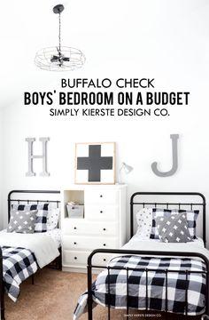 Black Buffalo Check Boys' Bedroom Makeover Boys' Room On A Budget Kids Bedroom Boys, Boys Bedroom Decor, Living Room Decor, Boy Room, Bedroom Ideas, Kid Bedrooms, Little Boys Rooms, Kids Room, Warm Bedroom