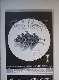 1953 Sarah Coventry Ad -Leaf Acorn