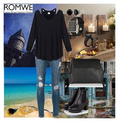"""""""Hollow Black T-shirt"""" by sarahguo ❤ liked on Polyvore featuring Faliero Sarti, Frame Denim and Lanvin"""