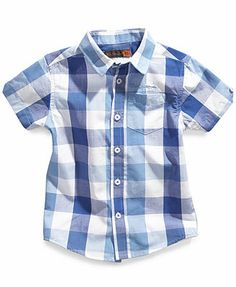 $ 18 Macy's Ben Sherman Kids Shirt, Little Boys Plaid Short-Sleeved Shirt
