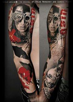 Trash Polka® Tattoo by Simone Pfaff and Volko Merschky Tattoo Trash, Trash Polka Tattoo, Body Art Tattoos, Sleeve Tattoos, Army Tattoos, Men Tattoos, Clown Tattoo, Totenkopf Tattoos, Cool Tats