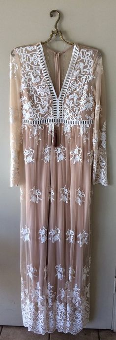 Image of Anthropologie Coachella Festival lace nude maxi gypsy dress