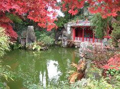 Chinese pavilion and pond, Biddulph Grange Garden, England.