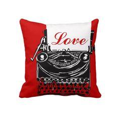 Vintage Typewriter Love Message Pillow Valentine's Day Gift. #valentines #valentine #love