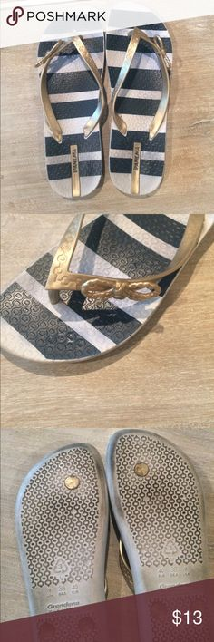 Thong sandals Navy and white soles with light gold straps. Now on the outside of the straps. Used but in good condition. Purchased from a local boutique store. Ipanema Shoes Sandals