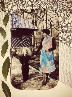 by Carlijn Claire Potma // Journey of the Like-Minded  #vintagephotographs #illustration #mother #leaves #collage #drawing #fashion