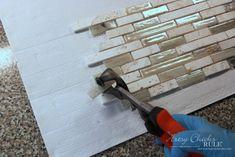 Coastal Inspired DIY Tile Backsplash Tutorial (anyone can do! Diy Tile Backsplash, Vinyl Wood Planks, Home Repair, It's Easy, Coastal, Artsy, Canning, Inspired, Kitchen