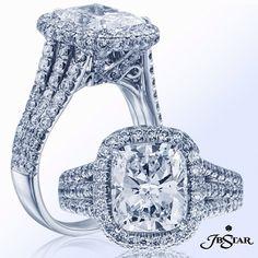 We love this 3.24ct cushion diamond, three row split shank engagement ring. #engagementring #diamondring #madeinusa