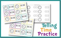 Telling Time Practice.  Use these free pritnables to practice telling time!