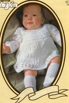 PDF Baby Knitting PATTERN for Baby's dress in 3ply 18 by carolrosa, $1.70
