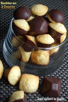 Bouchées aux 2 chocolats : tripler la dose, ajouter 1/2 sachet de levure et parsemer de grains de sucre.