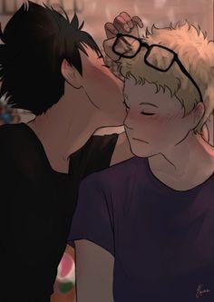 """Tsukki's getting all the kisses! Haikyuu Tsukishima, Kageyama X Hinata, Kuroo Tetsurou, Haikyuu Manga, Haikyuu Fanart, Manga Anime, Daisuga, Kuroken, Bokuaka"
