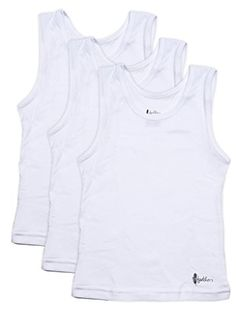 Feathers Boys White Tank 100% cotton super soft Tagless Undershirts 3-Pack *** For more information, visit