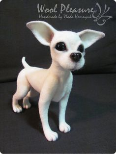Needle Felted white Chihuahua life sized by VladaHom on Etsy, $220.00