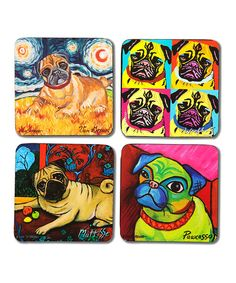 Look at this Pug Coaster Set on #zulily today!