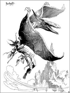 Thipdars from Tarzan at the Earth's Core (Pterodactyls) by Frank Frazetta