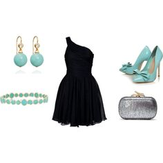 black and Tiffany blue, created by amswimminglax.polyvore.com