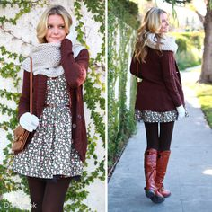 Infinity scarf. Floral dress with belt. Long cardigan. Tights. Brown knee-high boots.  Want the whole outfit.