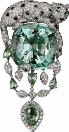 PANTHÈRE DE CARTIER BROOCH Platinum, green beryl, green sapphires, emeralds, onyx, diamonds