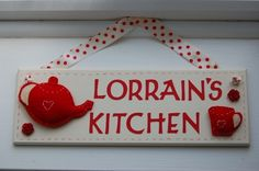 Handmade Personalised Kitchen Sign with Felt teapot and mug Kitchen Ornaments, Christmas Ornaments, Note Fonts, Kitchen Decor Signs, Local Craft Fairs, Mollie Makes, Handmade Kitchens, Ribbon Bows, Home Decor Items