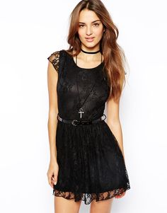 Club L Lace Skater Dress with Belt $23 #Asos
