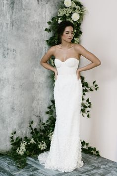 Annabella gown with flowers and silk pleated bustier. Available made to order or customised. Bridal Make Up, Bridal Hair, Bridal Gowns, Designer Bridesmaid Dresses, Designer Dresses, 3d, Silk, Flowers, Beautiful