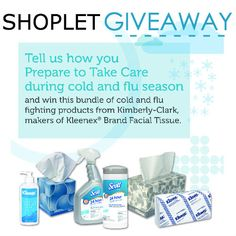 Cooler weather doesn't have to mean catching a cold. #WIN an awesome Kimberly-Clark cold and flu bundle and keep the germs away. To enter, leave us a comment on our blog telling us how you will prepare to take care this season. #giveaway  http://blog.shoplet.com/giveaways/win-a-kimberly-clark-cold-and-flu-bundle/