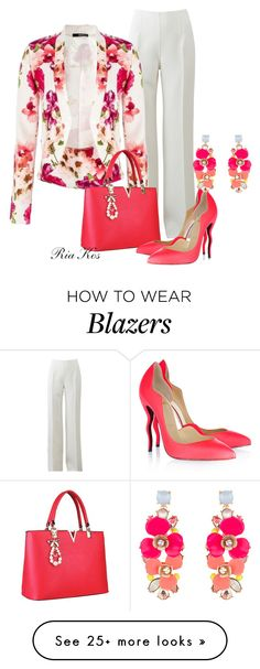 """flower blazer"" by ria-kos on Polyvore featuring Michael Kors, Christian Louboutin and Accessorize"