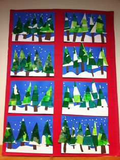 Apex Elementary Art: Winter Trees with tissue paper and hole punched snowflakes (kindergarten art projects) Christmas Art Projects, Winter Art Projects, Art Projects For Adults, Winter Crafts For Kids, Art For Kids, School Projects, Kindergarten Art, Preschool Art, Preschool Christmas