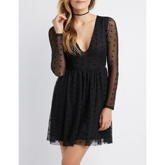 Charlotte Russe Swiss Dot Mesh Skater Dress ($23) ❤ liked on Polyvore featuring dresses, black, mesh dress, long sleeve dress, v neck skater dress, skater dresses and long sleeve plunge dress
