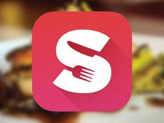 This app icon is very strong. Based on text, visual elements and colour the design makes it very important. The gradient with a drop shadow representing the S is a good concept. The visual elements of the cutlery symbolises the application very simple. Design Ios, App Icon Design, Logo Design Inspiration, Graphic Design, Flat Design, Logos, Typography Logo, Design Thinking, Motion Design