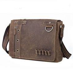 men's leather bag /vintagemen's bag handmade crazy horse leather briefcase messenger bag (C20)