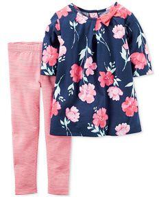 Carter's 2-Pc. Floral-Print Tunic & Striped Leggings Set, Baby Girls | macys.com