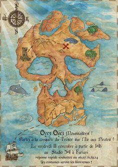 Piraterie - Papeterie - Idée faire-part sous forme d'ile en tête de mort