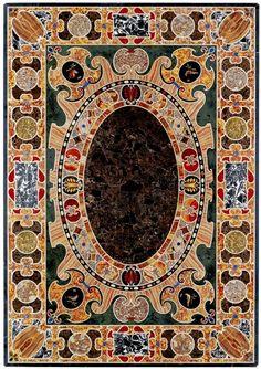 A MAGNIFICENT LATE RENAISSANCE ANTIQUE MARBLE INLAID TABLE TOP, ROMAN LAST QUARTER 16TH CENTURY