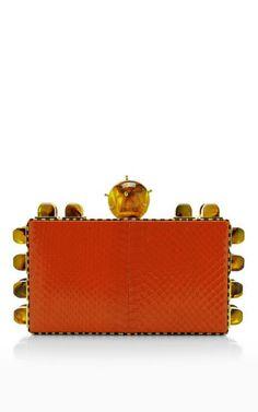 Tonya Hawkes Deidr'E Glossy Viper Snake Pumpkin Clutch by Tonya Hawkes for Preorder on Moda Operandi